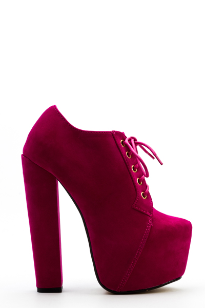 Velour Lace Up Ankle Boots