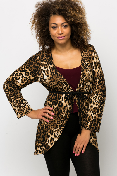 Animal Print Tie-Up Cardigan