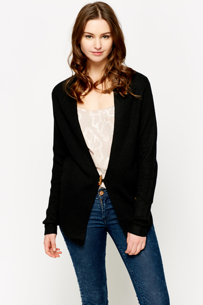 Ribbed Buckle Front Cardigan