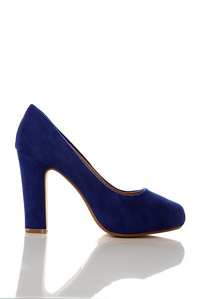 Thick Heel Velour Court Shoes