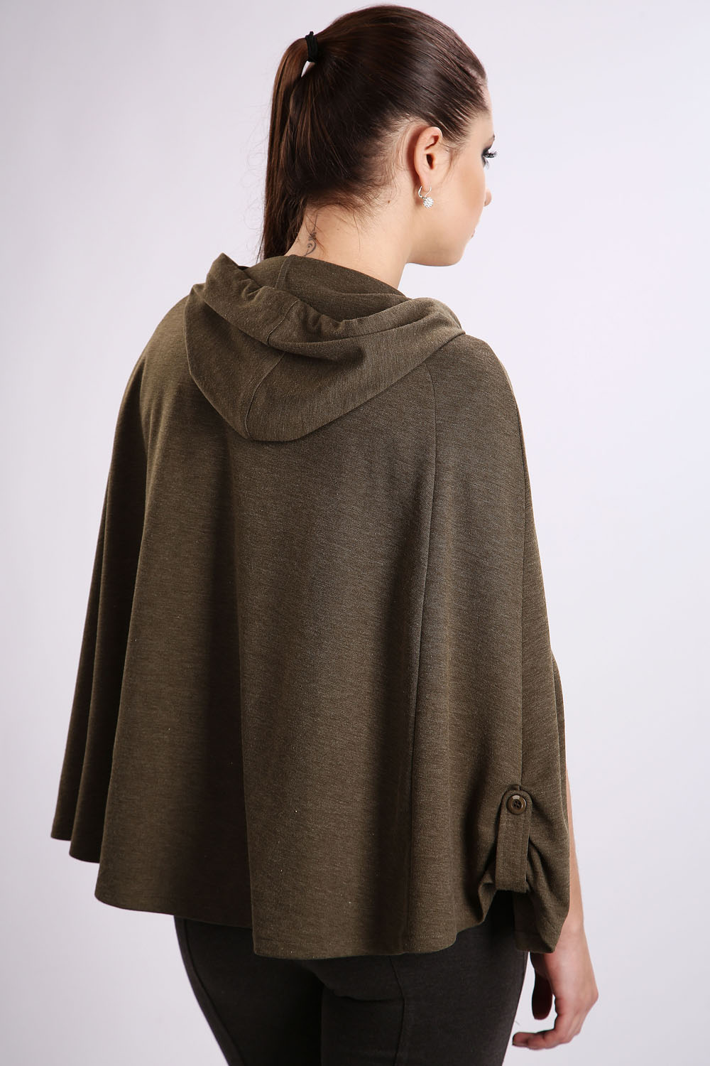 Olive Zip Front & Buckle Hooded Cape