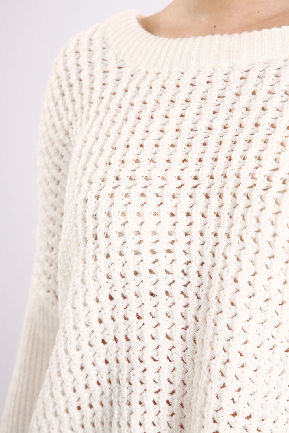 Perforated Mix Knit Round Neck Sweater