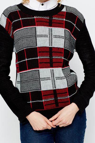 Two Tone Check Jumper