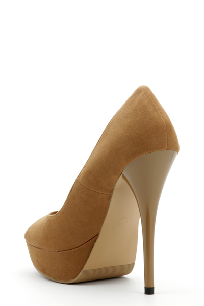 Faux Leather Peep Toe Camel Shoes