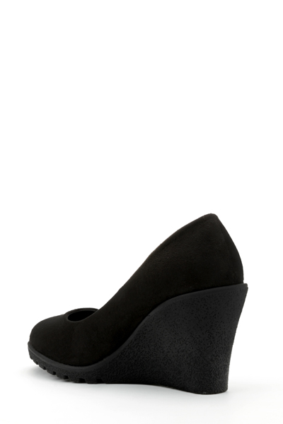 Contrast Wedge Suedette Shoes