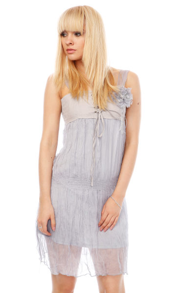 Pleated Organza & Cotton Dress