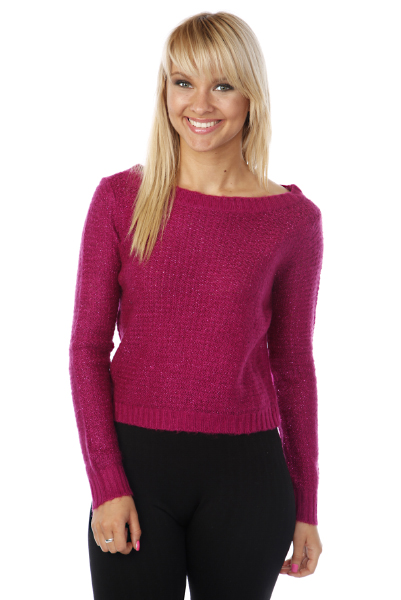 Lurex Knit Cropped Pullover