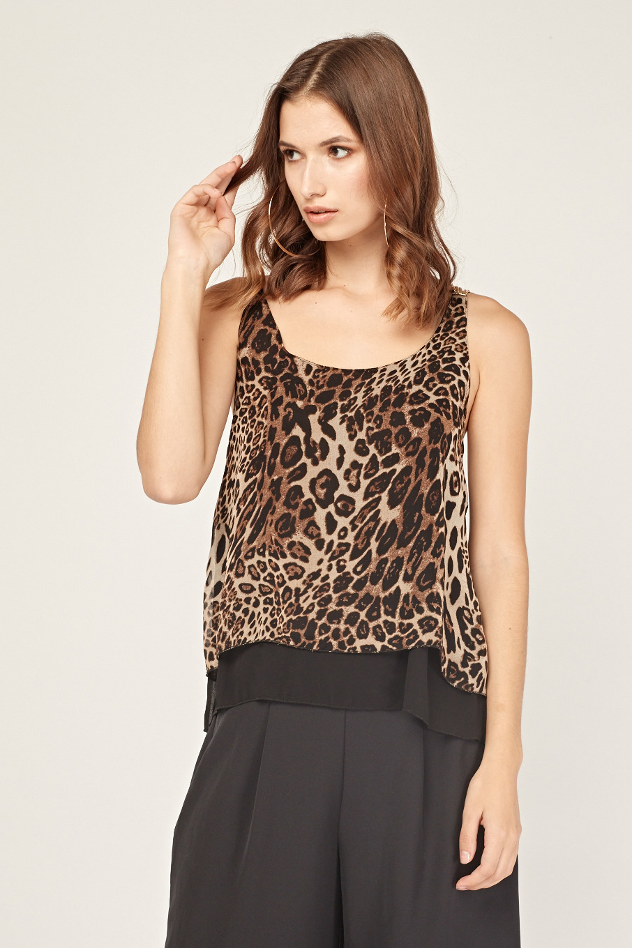 123c238101a8c3 Leopard Print Chained Back Top - Black Multi - Just £5