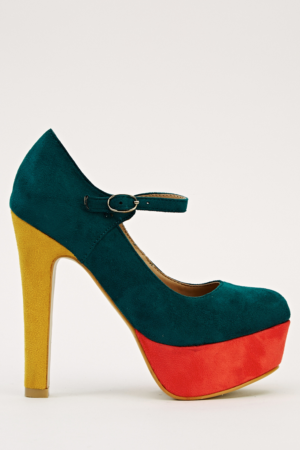 Multi Tone Buckle Strap Heel Shoes Green L Red Yellow