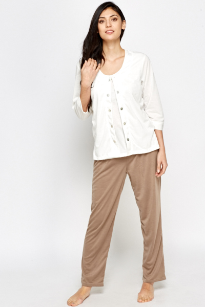 Contrast Combo Top And Trousers Set