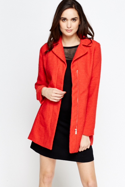 Red Ribbed Classic Coat