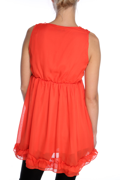 Zipped Front With Ruffled Neckline Dresstop