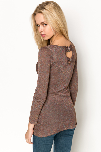 Metallic Cut Out Bow Back Pullover