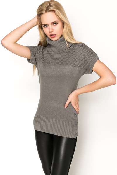 Perforated Mix Knit Roll Neck Pullover