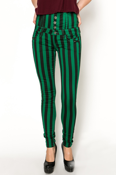 High Waisted Striped Trousers
