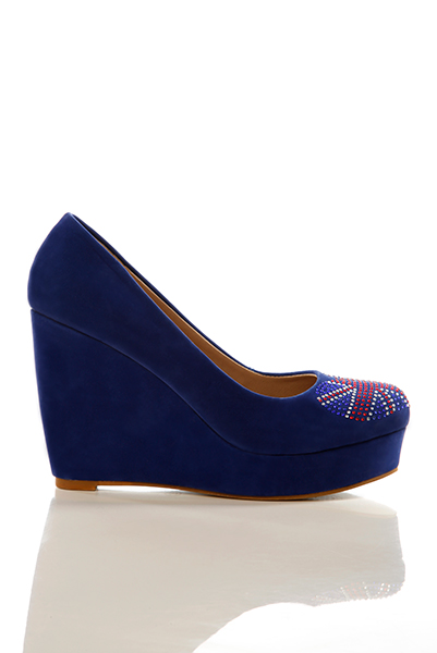 Encrusted Union Jack Heart Wedge Shoes