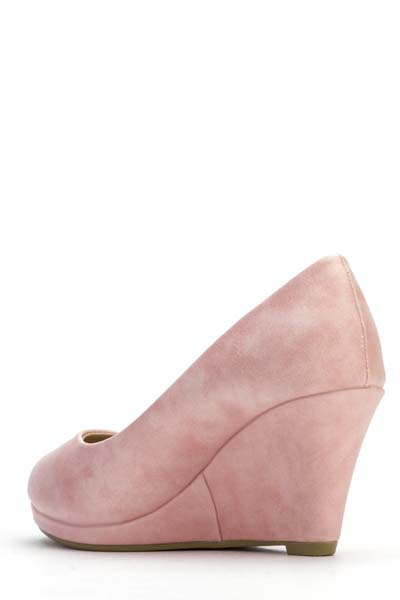 Faux Leather Pink Wedge Shoes