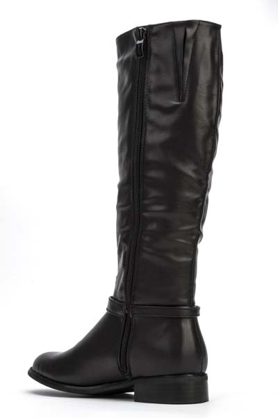 Metal Tip Buckle Zip Side Boots