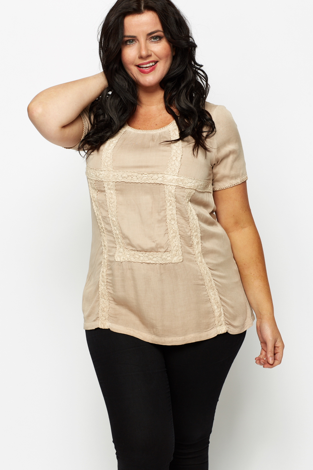 Oversize Lace Trim Tunic
