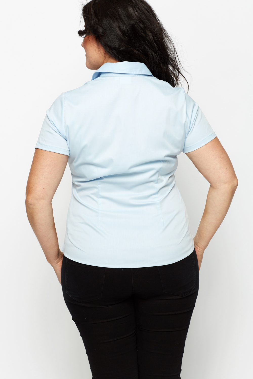 Light Blue Short Sleeve Blouse