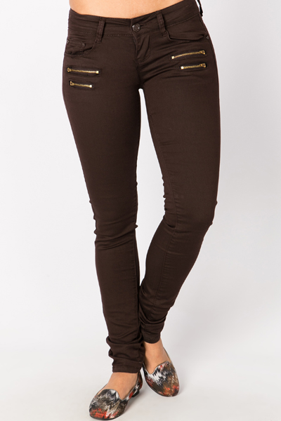 Double Zip Front Chocolate Trousers