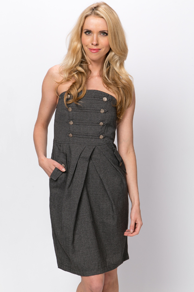 Bandeau Military Style Dress