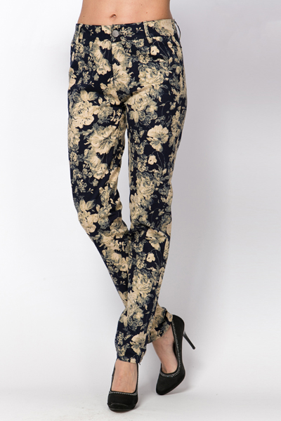Navy Floral Trousers