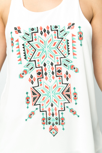 Embroidered Navajo Design Top