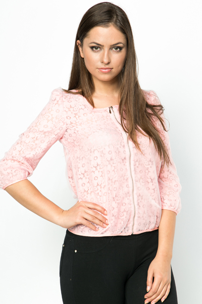 Lace Zip Front Jacket