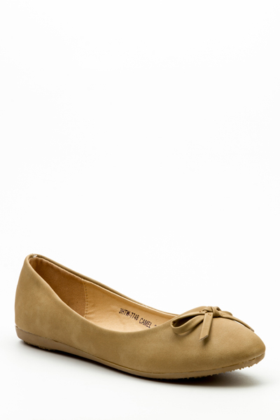 Faux Leather Bow Flats