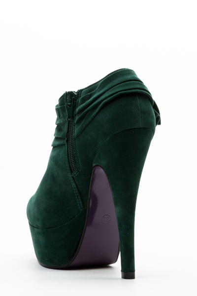 Bow Side Velour Ankle Boots
