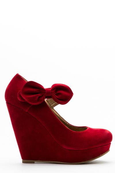 Bow Strap Velveteen Wedge Shoes