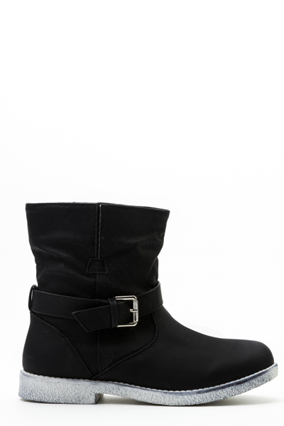 Perforated Buckle Strap Boots