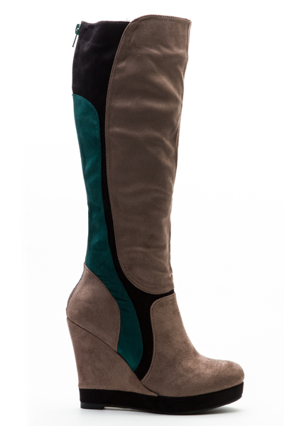 Colour Panel Knee High Boots