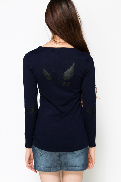 Heart & Wing Print Pullover