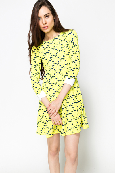Graphic Yellow Skater Dress