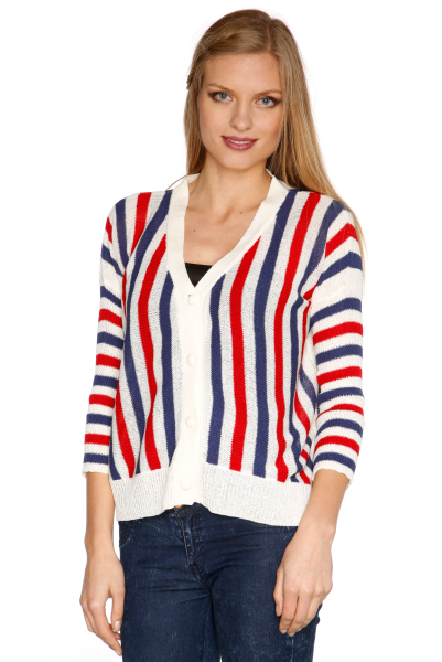 Vertical Stripes Sheer Knit Cardigan