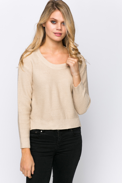 Round Neck Slit Hem Jumper