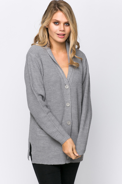 Shawl Collar Ribbed Cardigan