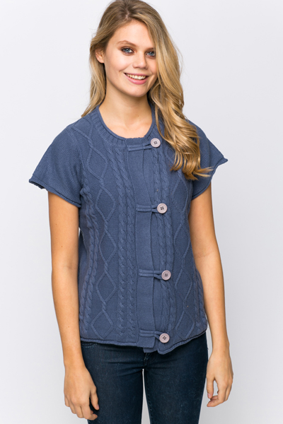 Cable Trim Short Sleeves Cardigan