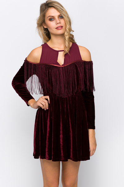 Cut Out Shoulder Velveteen Skater Dress