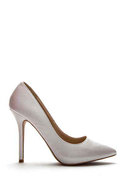 Pointed Toe White Court Shoes