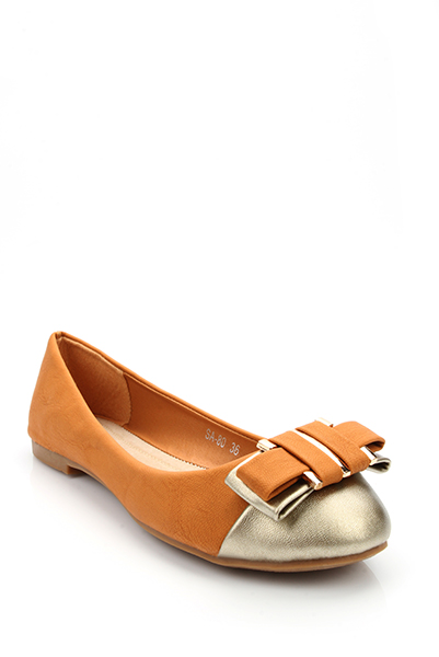 Double Bow & Golden Toe Flats