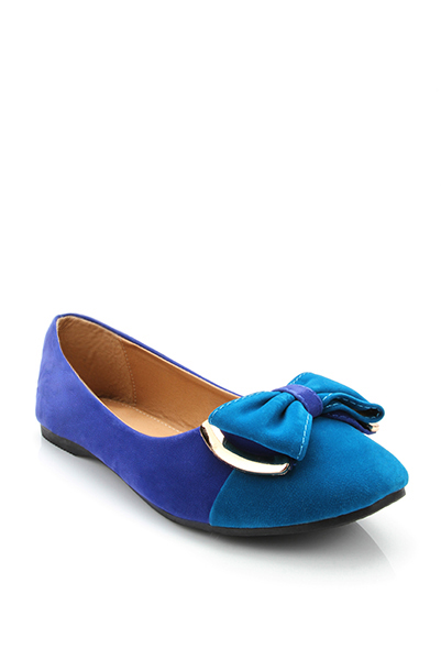 Two Tone Bow Toe Cap Velour Flats