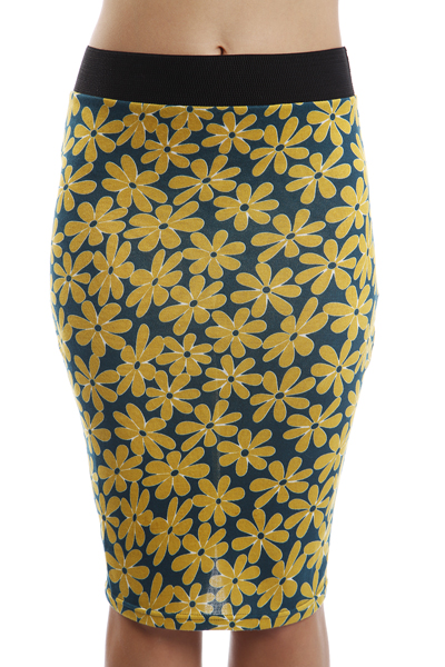 Daisy Print Pencil Skirt