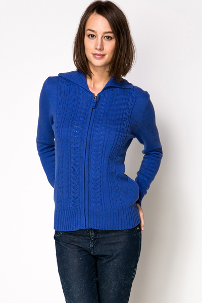 Cable Knit Zip Front Cardigan