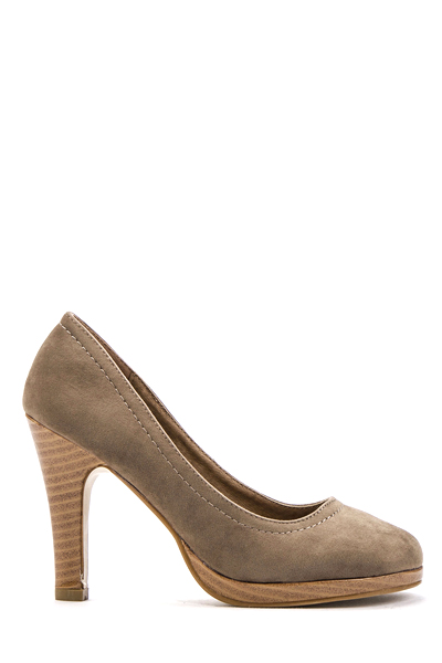 Suedette Wood Effect Court Heels