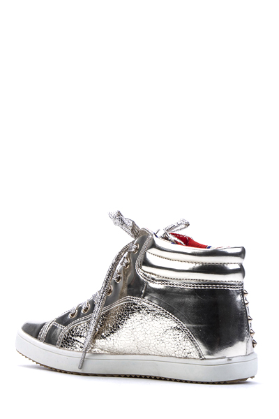 Metallic Studded Crackle Effect Trainers