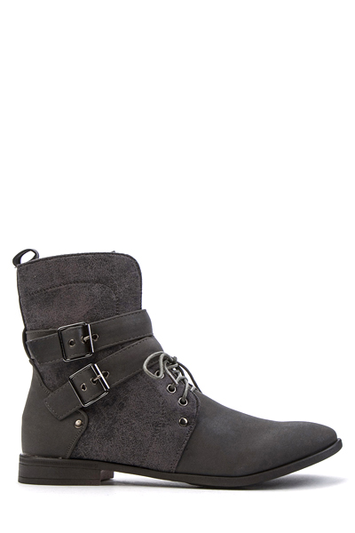 Double Buckle Lace Up Metallic Boots