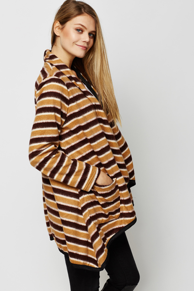 Fleeced Stripe Poncho Cardigan